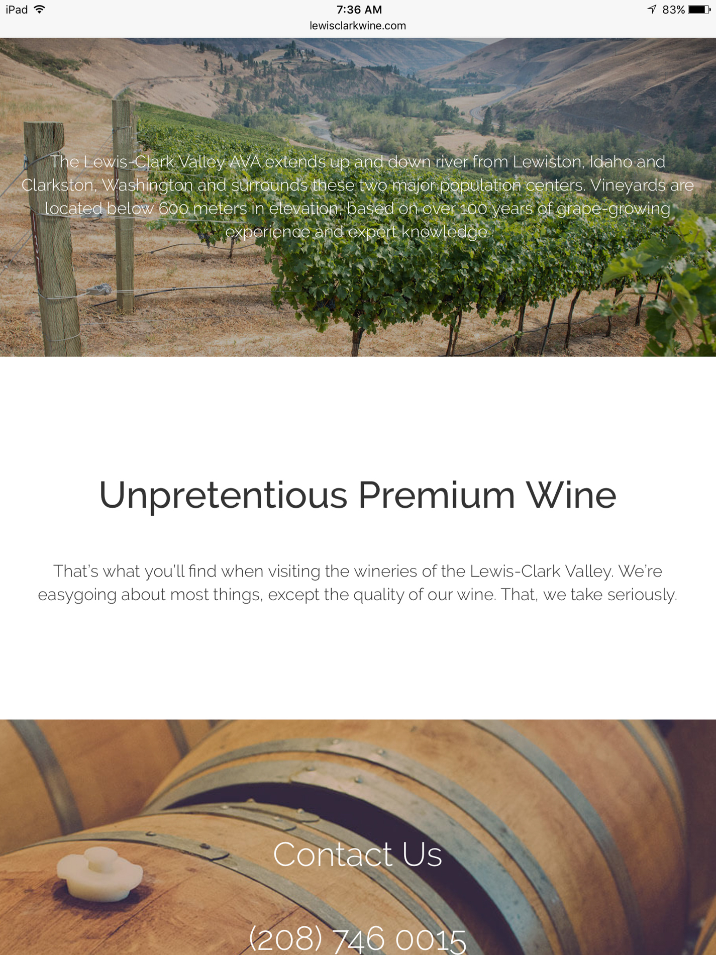 Winery Website Photography